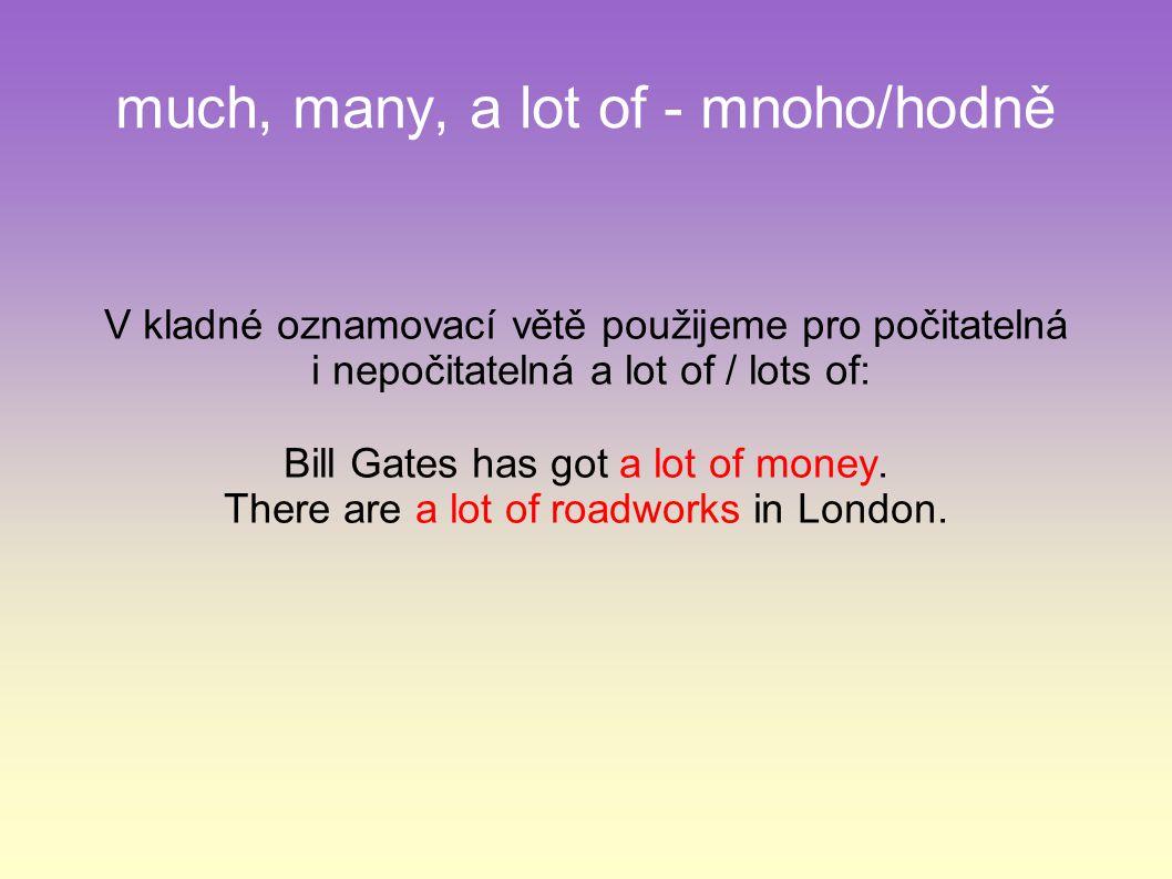 much, many, a lot of - mnoho/hodně V kladné oznamovací větě použijeme pro počitatelná i nepočitatelná a lot of / lots of: Bill Gates has got a lot of money.