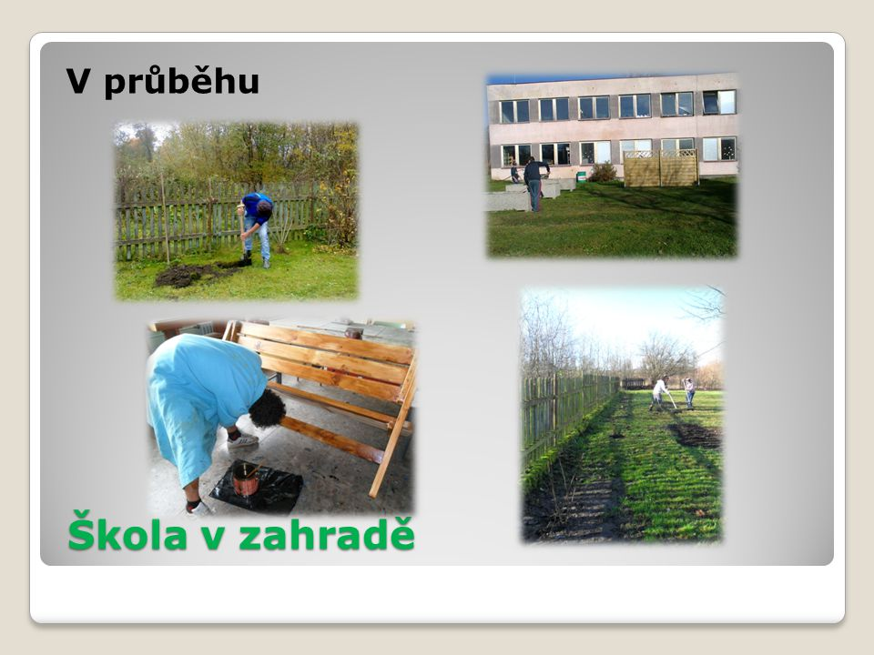 Škola v zahradě V průběhu