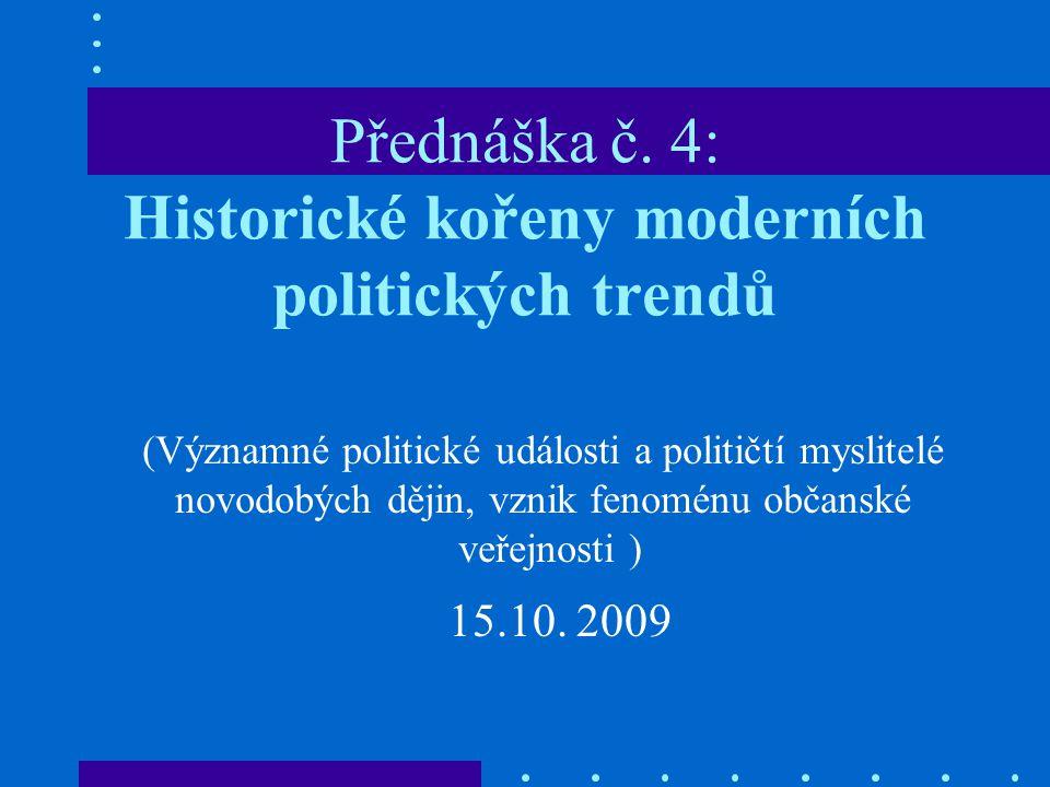 Přednáška č. 4: Historické kořeny moderních politických trendů (Významné politické události a političtí myslitelé novodobých dějin, vznik fenoménu obč