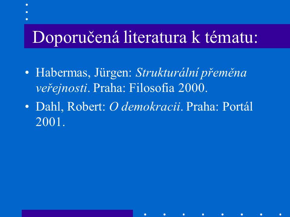 Doporučená literatura k tématu: Habermas, Jürgen: Strukturální přeměna veřejnosti. Praha: Filosofia 2000. Dahl, Robert: O demokracii. Praha: Portál 20