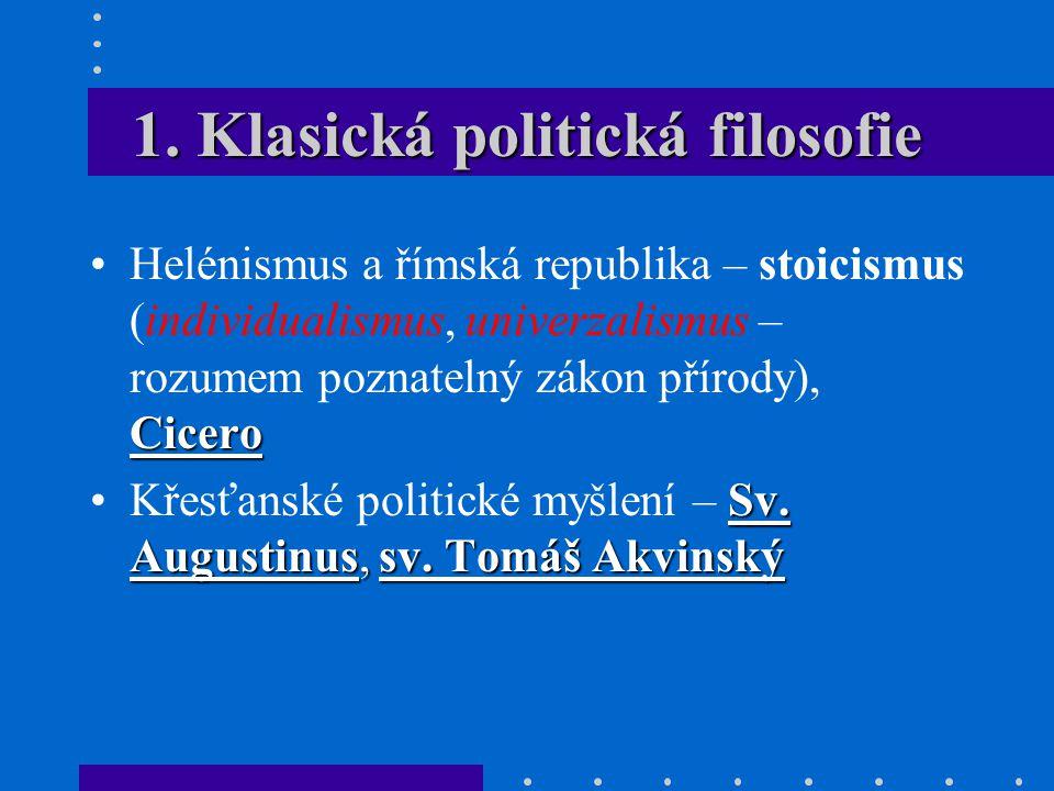 1. Klasická politická filosofie CiceroHelénismus a římská republika – stoicismus (individualismus, univerzalismus – rozumem poznatelný zákon přírody),