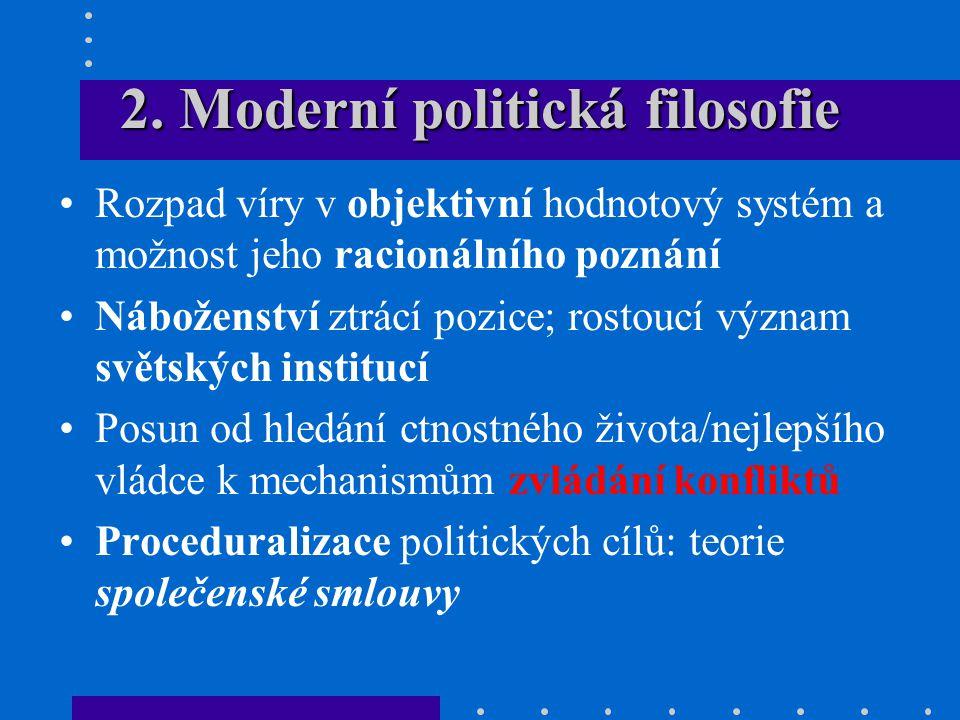 2. Moderní politická filosofie Rozpad víry v objektivní hodnotový systém a možnost jeho racionálního poznání Náboženství ztrácí pozice; rostoucí význa