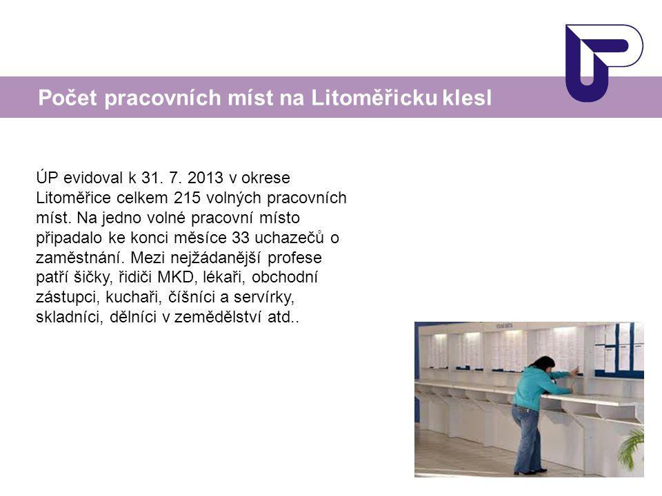 Počet pracovních míst na Litoměřicku klesl ÚP evidoval k 31. 7. 2013 v okrese Litoměřice celkem 215 volných pracovních míst. Na jedno volné pracovní m
