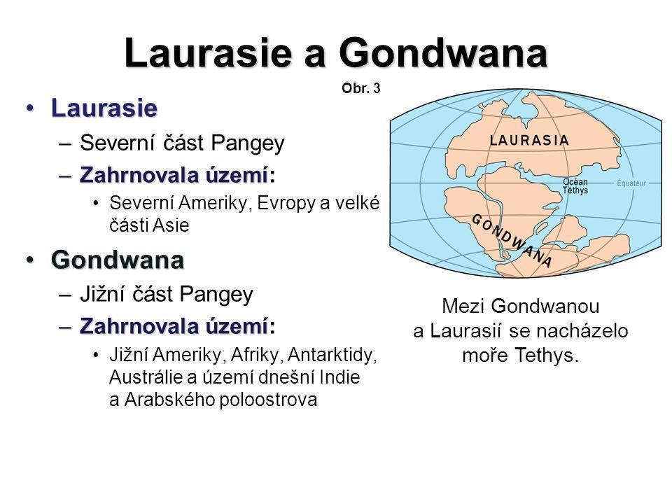 Laurasie a Gondwana LaurasieLaurasie –Severní část Pangey –Zahrnovala území –Zahrnovala území: Severní Ameriky, Evropy a velké části Asie GondwanaGond