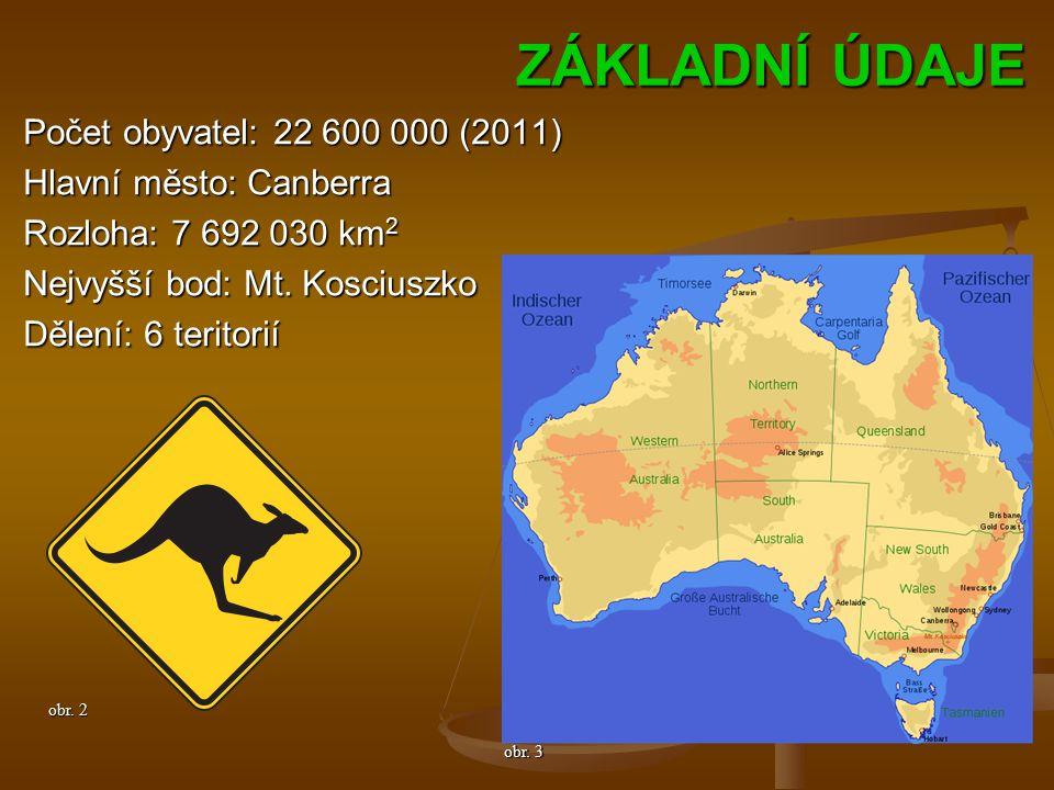 ZÁKLADNÍ ÚDAJE Počet obyvatel: 22 600 000 (2011) Hlavní město: Canberra Rozloha: 7 692 030 km 2 Nejvyšší bod: Mt.