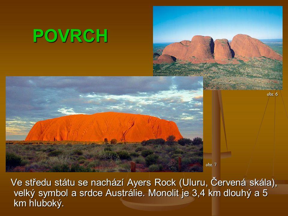 POVRCH Ve středu státu se nachází Ayers Rock (Uluru, Červená skála), velký symbol a srdce Austrálie.