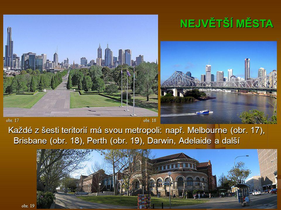 Každé z šesti teritorií má svou metropoli: např. Melbourne (obr.