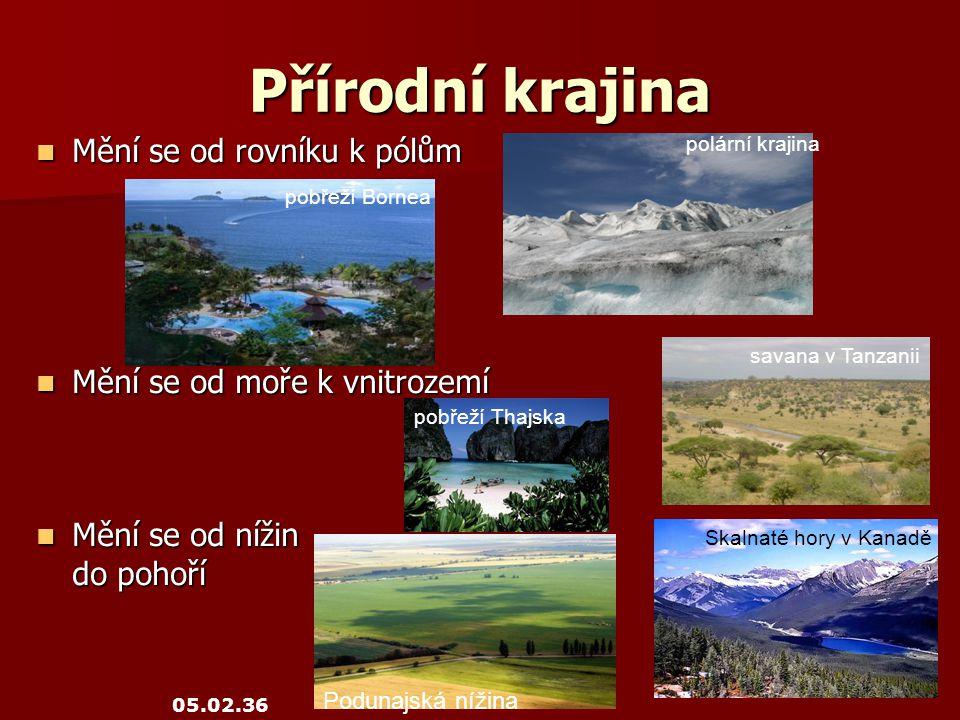 Přírodní krajina Mění se od rovníku k pólům Mění se od rovníku k pólům Mění se od moře k vnitrozemí Mění se od moře k vnitrozemí Mění se od nížin Mění