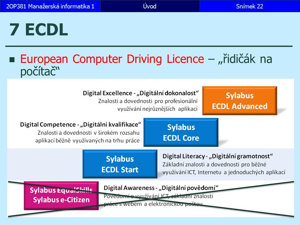 """ÚvodSnímek 222OP381 Manažerská informatika 1 7 ECDL European Computer Driving Licence – """"řidičák na počítač www.ECDL.cz"""