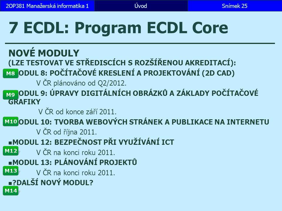 ÚvodSnímek 252OP381 Manažerská informatika 1 7 ECDL: Program ECDL Core NOVÉ MODULY (LZE TESTOVAT VE STŘEDISCÍCH S ROZŠÍŘENOU AKREDITACÍ): MODUL 8: POČÍTAČOVÉ KRESLENÍ A PROJEKTOVÁNÍ (2D CAD) V ČR plánováno od Q2/2012.