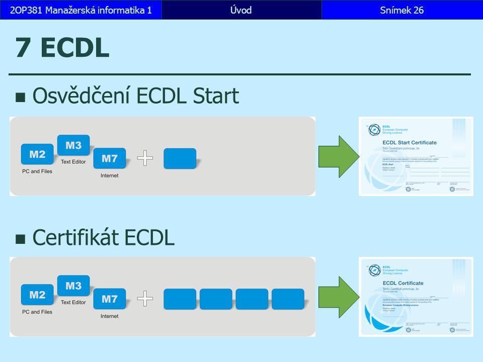ÚvodSnímek 262OP381 Manažerská informatika 1 7 ECDL Osvědčení ECDL Start Certifikát ECDL