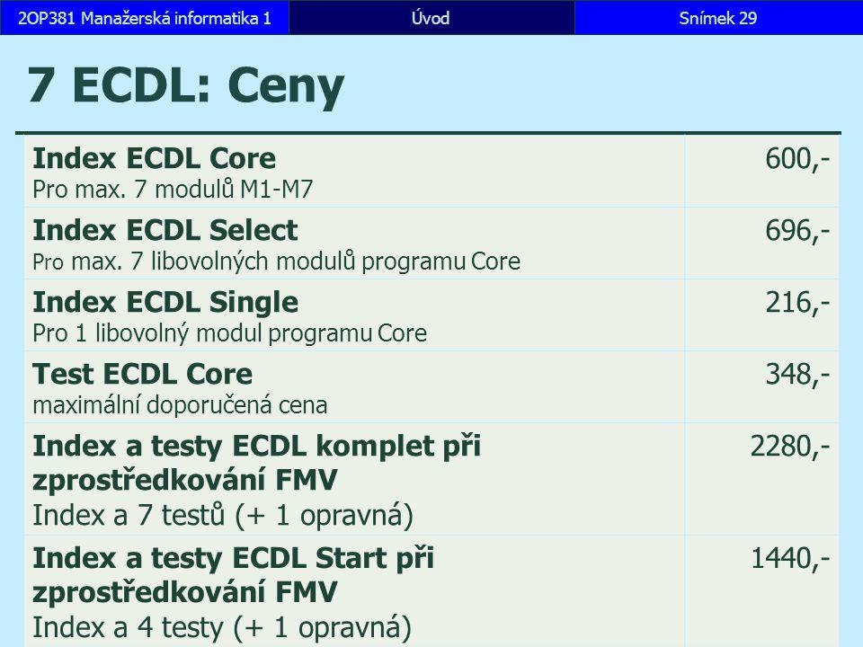 7 ECDL: Ceny ÚvodSnímek 292OP381 Manažerská informatika 1 Index ECDL Core Pro max.