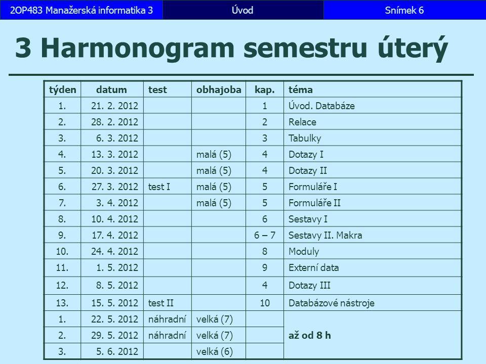 ÚvodSnímek 72OP483 Manažerská informatika 3 3 Harmonogram semestru středa týdendatumtestobhajobakap.téma 1.22.