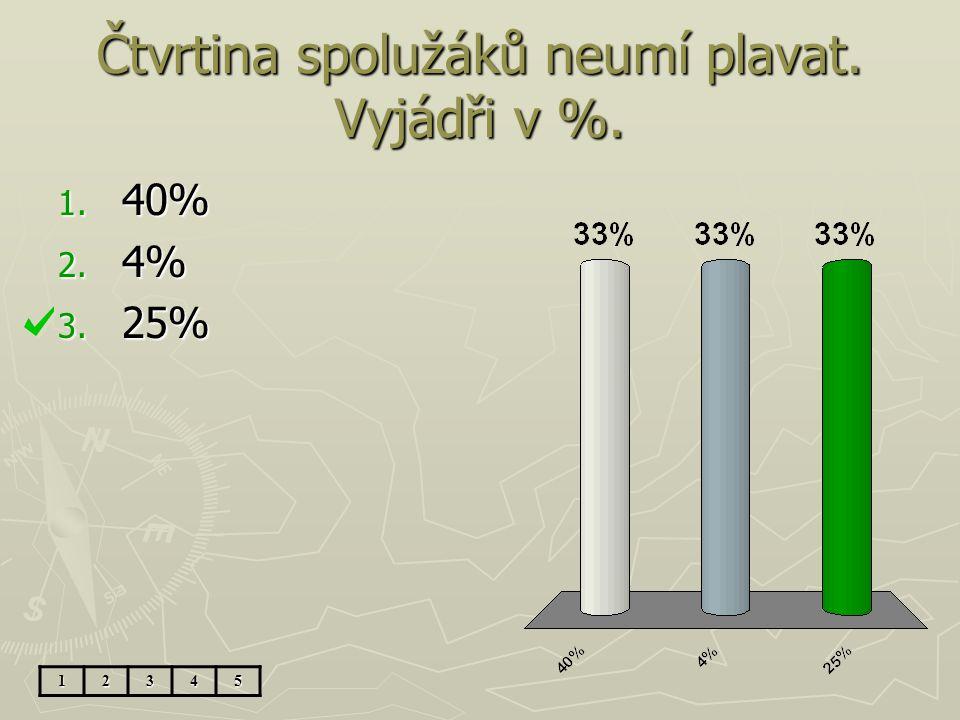 Čtvrtina spolužáků neumí plavat. Vyjádři v %. 1. 40% 2. 4% 3. 25% 12345