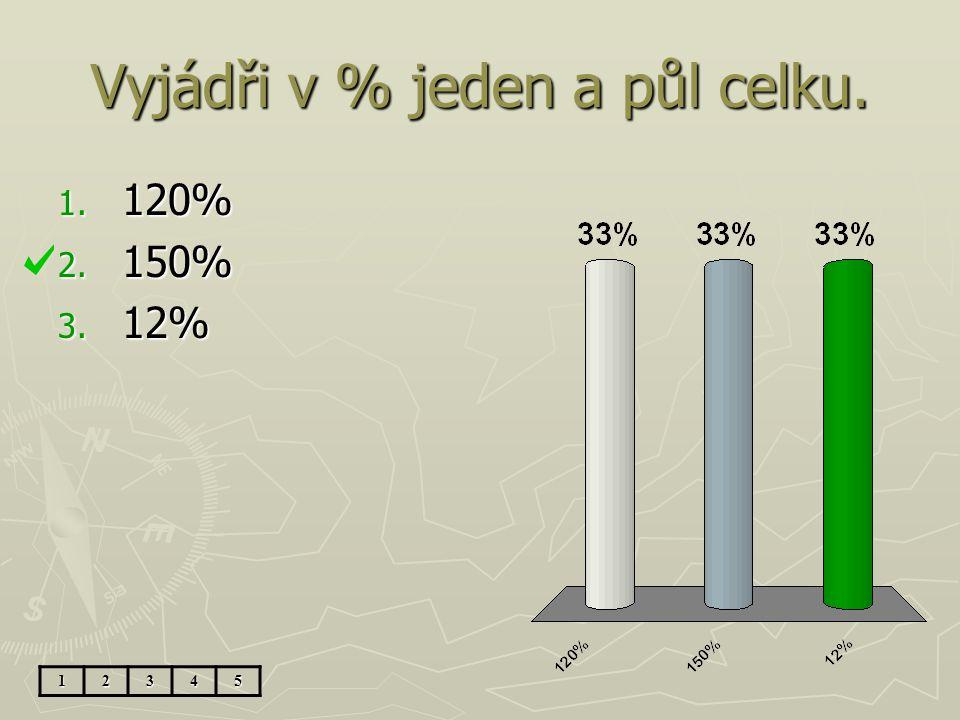 Vyjádři v %: 2 15 1. 250% 2. 220% 3. 205% 12345