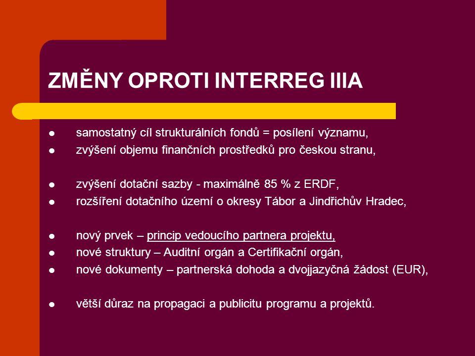 ZMĚNY OPROTI INTERREG IIIA samostatný cíl strukturálních fondů = posílení významu, zvýšení objemu finančních prostředků pro českou stranu, zvýšení dot