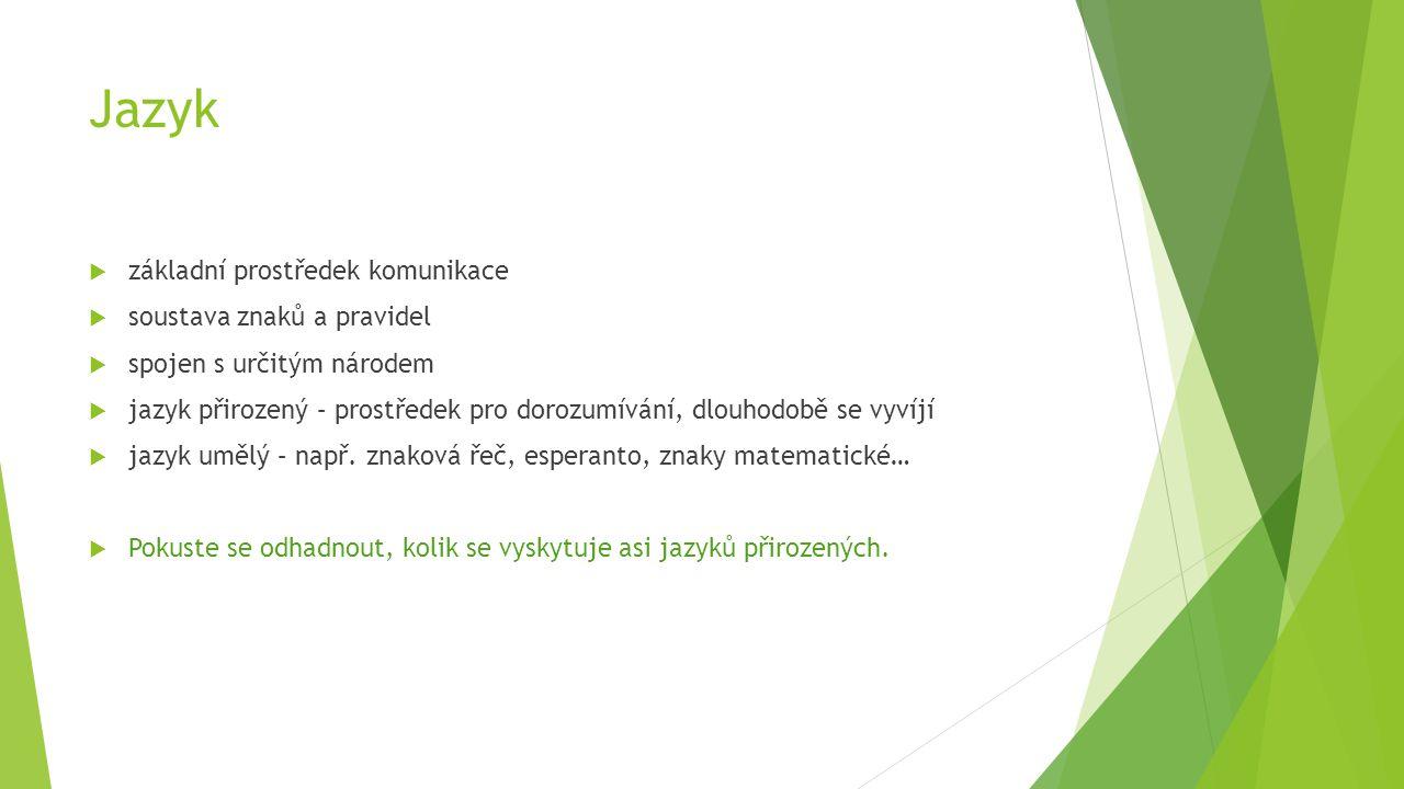 Jazykové skupiny  Čeština patří do skupiny indoevropských jazyků jako jazyk slovanský  Dále se sem řadí jazyky – indické, íránské, řečtina, albánština a arménština, italické, keltské, germánské, baltské  Slovanské jazyky: - společný základ v praslovanštině - dělí se do tří skupin – jazyky západoslovanské, východoslovanské a jihoslovanské  Do které skupiny slovanských jazyků patří čeština?