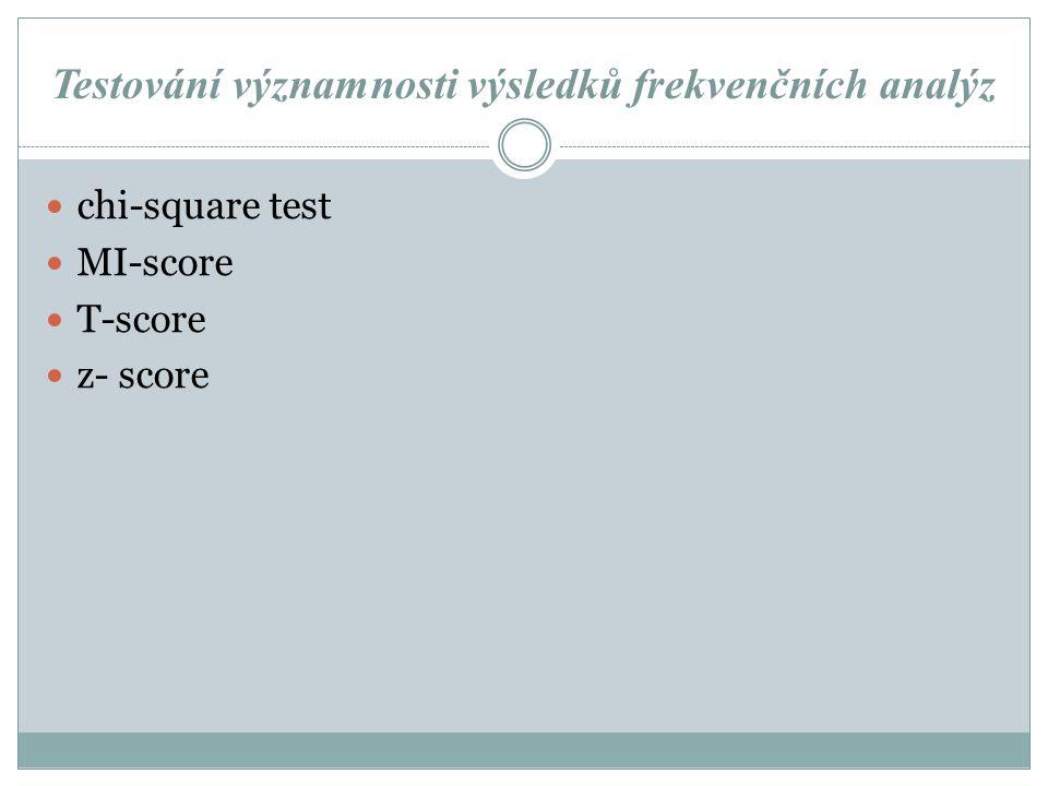 Testování významnosti výsledků frekvenčních analýz chi-square test MI-score T-score z- score