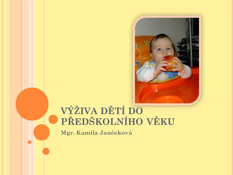 VÝŽIVA DĚTÍ DO PŘEDŠKOLNÍHO VĚKU Mgr. Kamila Jančeková
