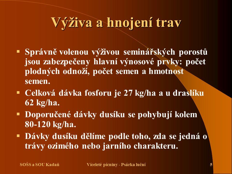 SOŠS a SOU KadaňVíceleté pícniny - Psárka luční16 Použité zdroje  Kuchtík, F., Procházka, I., Teksl, M., Valeš, J.: Pěstování rostlin II.