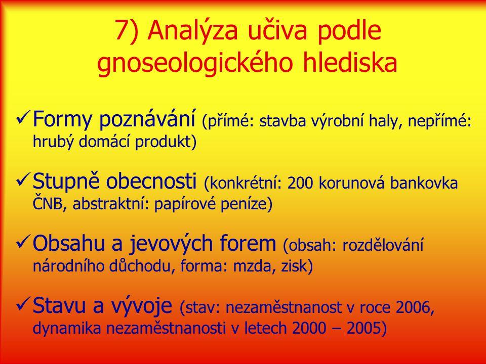 7) Analýza učiva podle gnoseologického hlediska Formy poznávání (přímé: stavba výrobní haly, nepřímé: hrubý domácí produkt) Stupně obecnosti (konkrétní: 200 korunová bankovka ČNB, abstraktní: papírové peníze) Obsahu a jevových forem (obsah: rozdělování národního důchodu, forma: mzda, zisk) Stavu a vývoje (stav: nezaměstnanost v roce 2006, dynamika nezaměstnanosti v letech 2000 – 2005)