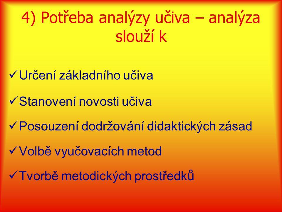 4) Potřeba analýzy učiva – analýza slouží k Určení základního učiva Stanovení novosti učiva Posouzení dodržování didaktických zásad Volbě vyučovacích metod Tvorbě metodických prostředk ů