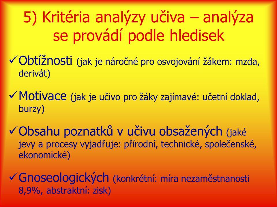 5) Kritéria analýzy učiva – analýza se provádí podle hledisek Obtížnosti (jak je náročné pro osvojování žákem: mzda, derivát) Motivace (jak je učivo pro žáky zajímavé: učetní doklad, burzy) Obsahu poznatků v učivu obsažených (jaké jevy a procesy vyjadřuje: přírodní, technické, společenské, ekonomické) Gnoseologických (konkrétní: míra nezaměstnanosti 8,9%, abstraktní: zisk)