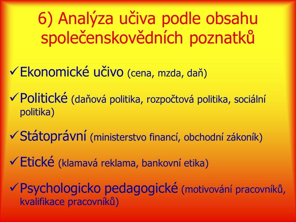 6) Analýza učiva podle obsahu společenskovědních poznatků Ekonomické učivo (cena, mzda, daň) Politické (daňová politika, rozpočtová politika, sociální politika) Státoprávní (ministerstvo financí, obchodní zákoník) Etické (klamavá reklama, bankovní etika) Psychologicko pedagogické (motivování pracovníků, kvalifikace pracovníků)