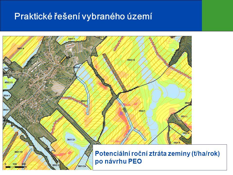 12 Praktické řešení vybraného území Potenciální roční ztráta zeminy (t/ha/rok) po návrhu PEO