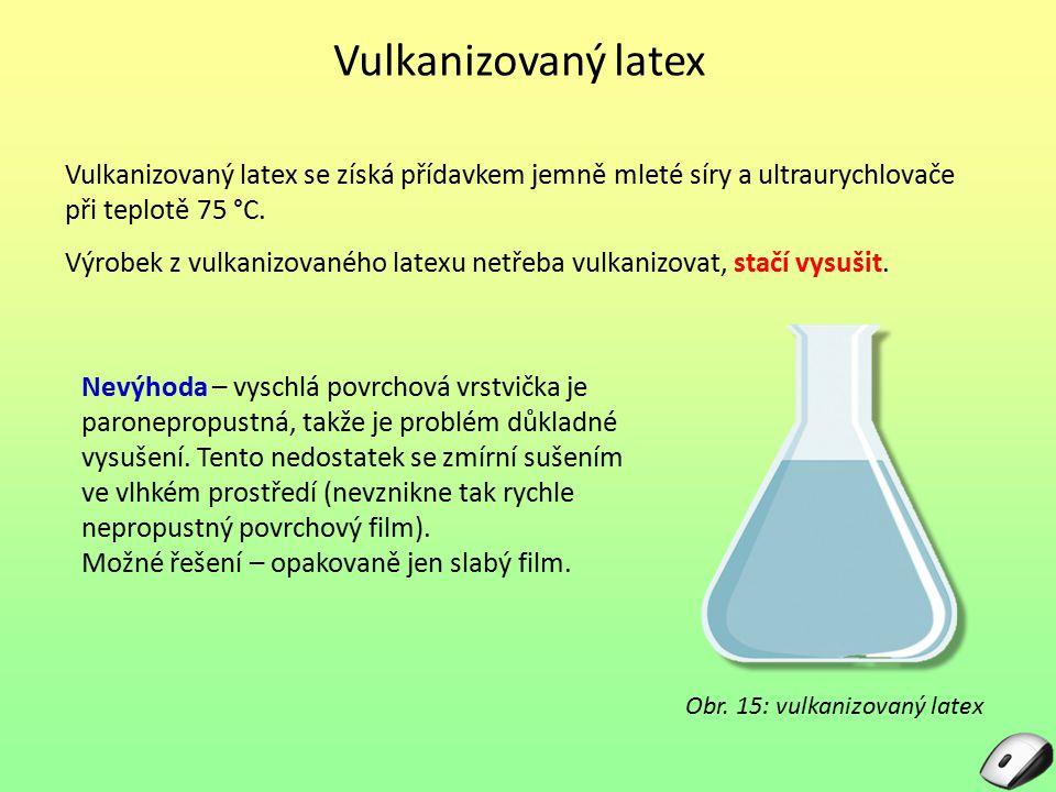 Vulkanizovaný latex Vulkanizovaný latex se získá přídavkem jemně mleté síry a ultraurychlovače při teplotě 75 °C. Výrobek z vulkanizovaného latexu net