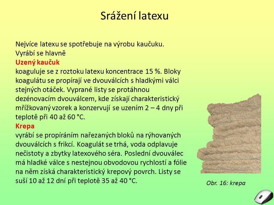 Srážení latexu Nejvíce latexu se spotřebuje na výrobu kaučuku. Vyrábí se hlavně Uzený kaučuk koaguluje se z roztoku latexu koncentrace 15 %. Bloky koa