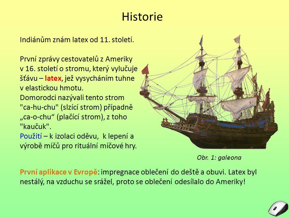Historie Indiánům znám latex od 11. století. První zprávy cestovatelů z Ameriky v 16. století o stromu, který vylučuje šťávu – latex, jež vysycháním t