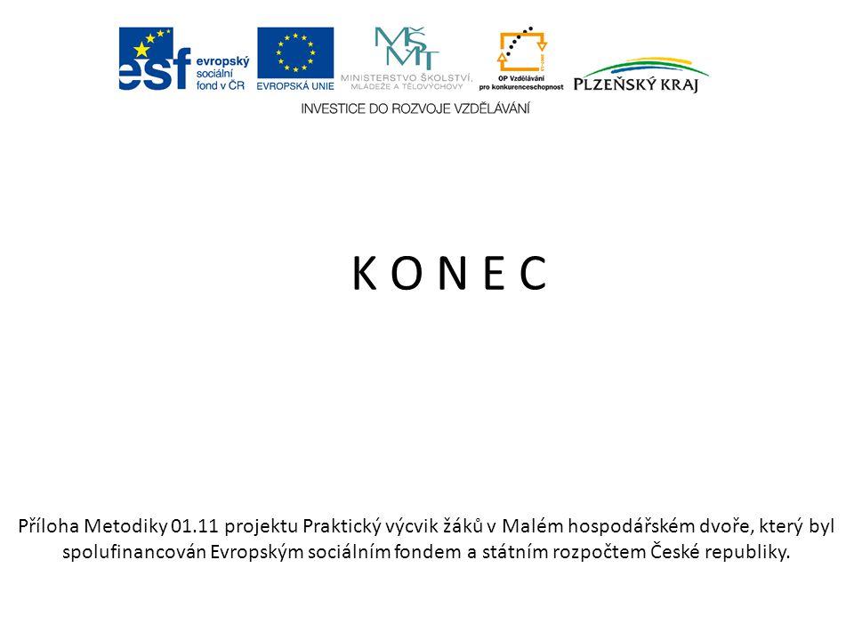 K O N E C Příloha Metodiky 01.11 projektu Praktický výcvik žáků v Malém hospodářském dvoře, který byl spolufinancován Evropským sociálním fondem a státním rozpočtem České republiky.