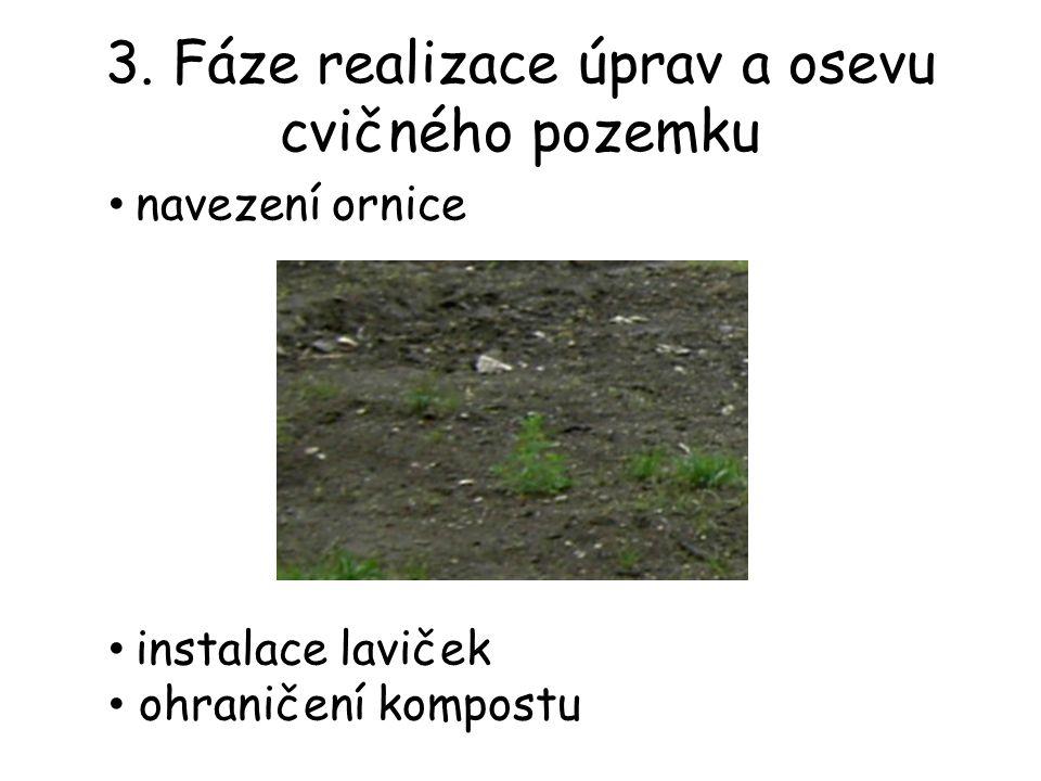 3. Fáze realizace úprav a osevu cvičného pozemku navezení ornice instalace laviček ohraničení kompostu