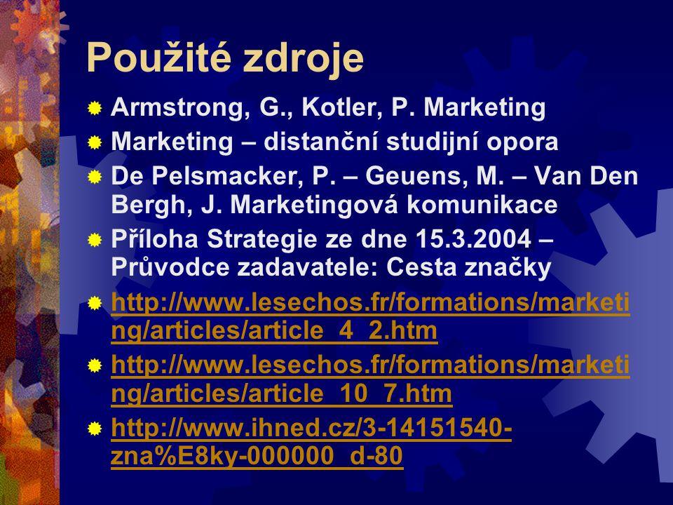 Použité zdroje  Armstrong, G., Kotler, P. Marketing  Marketing – distanční studijní opora  De Pelsmacker, P. – Geuens, M. – Van Den Bergh, J. Marke