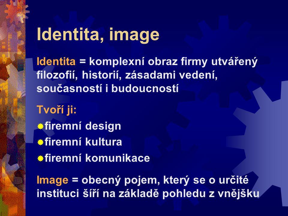 Identita, image Identita = komplexní obraz firmy utvářený filozofií, historií, zásadami vedení, současností i budoucností Tvoří ji:  firemní design 