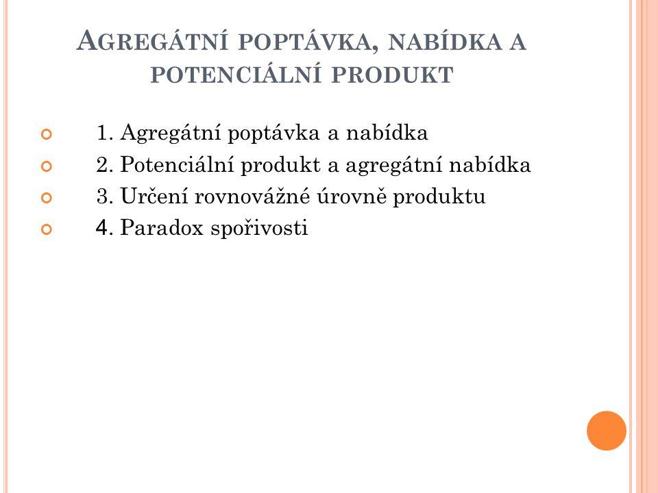 A GREGÁTNÍ POPTÁVKA, NABÍDKA A POTENCIÁLNÍ PRODUKT 1. Agregátní poptávka a nabídka 2. Potenciální produkt a agregátní nabídka 3. Určení rovnovážné úro