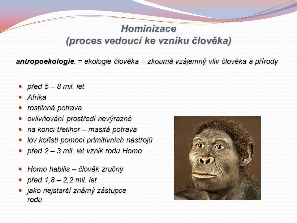 Hominizace (proces vedoucí ke vzniku člověka) před 5 – 8 mil.