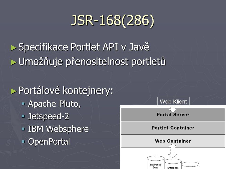 JSR-168(286) ► Specifikace Portlet API v Javě ► Umožňuje přenositelnost portletů ► Portálové kontejnery:  Apache Pluto,  Jetspeed-2  IBM Websphere  OpenPortal Web Klient