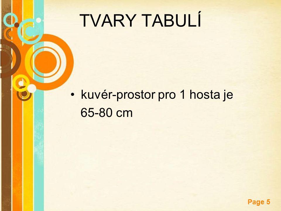 Free Powerpoint Templates Page 5 TVARY TABULÍ kuvér-prostor pro 1 hosta je 65-80 cm