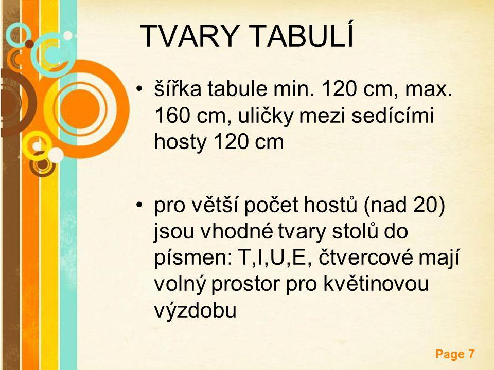 Free Powerpoint Templates Page 7 TVARY TABULÍ šířka tabule min. 120 cm, max. 160 cm, uličky mezi sedícími hosty 120 cm pro větší počet hostů (nad 20)