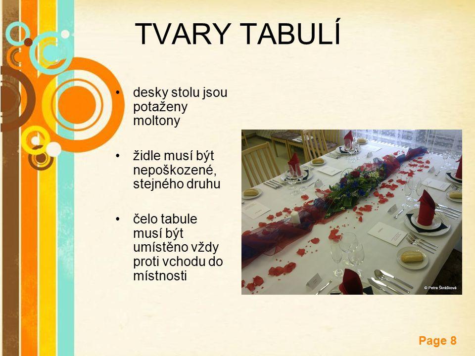 Free Powerpoint Templates Page 8 TVARY TABULÍ desky stolu jsou potaženy moltony židle musí být nepoškozené, stejného druhu čelo tabule musí být umístě