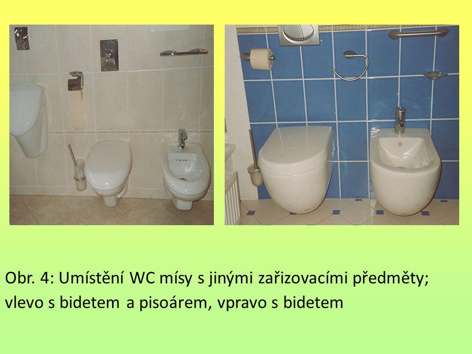 Obr. 4: Umístění WC mísy s jinými zařizovacími předměty; vlevo s bidetem a pisoárem, vpravo s bidetem