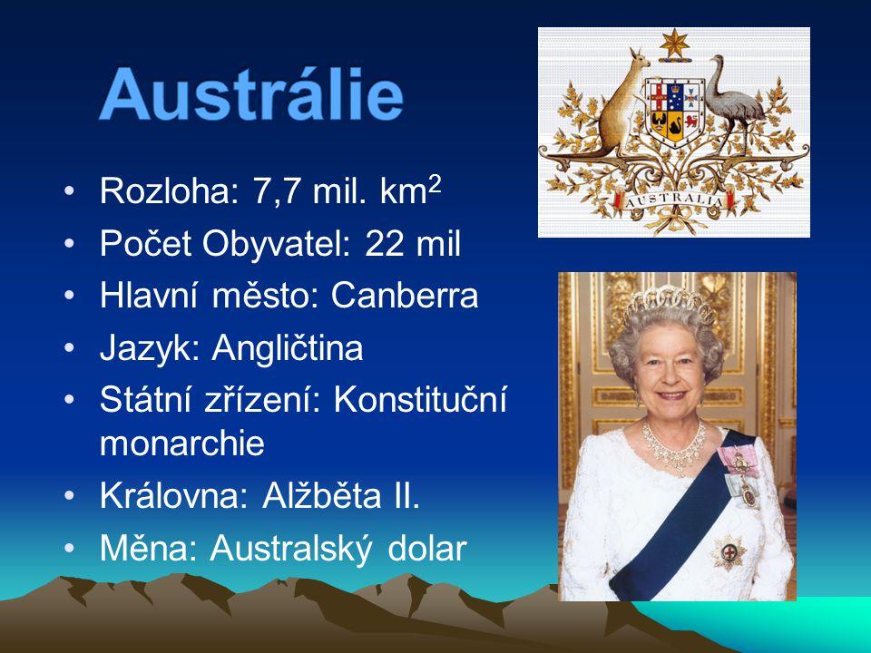 Rozloha: 7,7 mil. km 2 Počet Obyvatel: 22 mil Hlavní město: Canberra Jazyk: Angličtina Státní zřízení: Konstituční monarchie Královna: Alžběta II. Měn