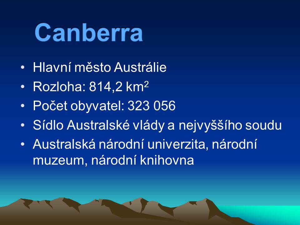 Hlavní město Austrálie Rozloha: 814,2 km 2 Počet obyvatel: 323 056 Sídlo Australské vlády a nejvyššího soudu Australská národní univerzita, národní mu