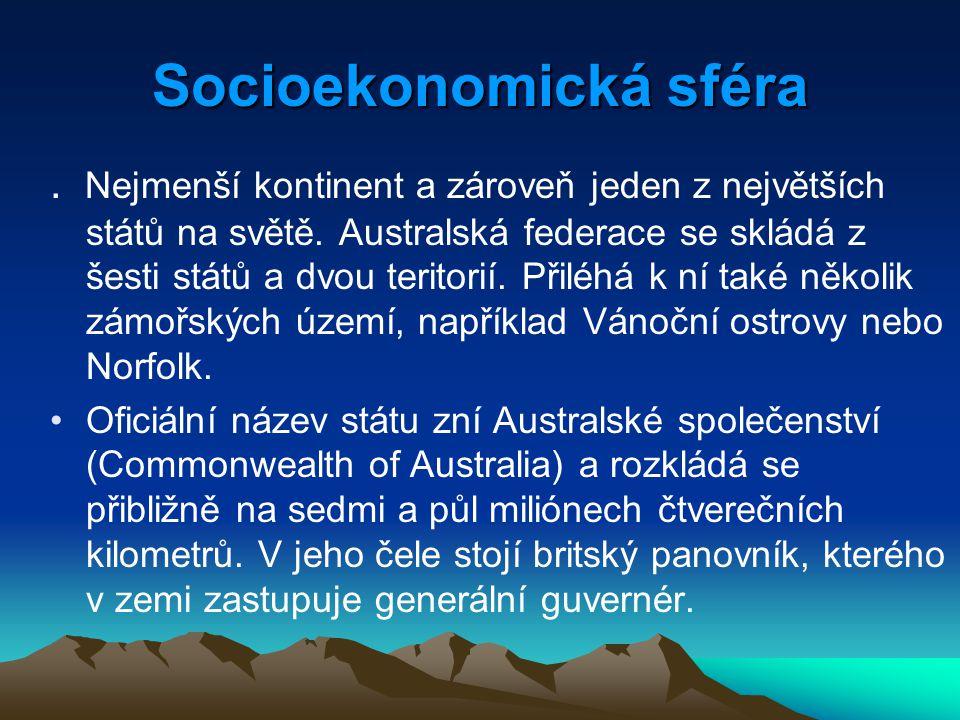 Socioekonomická sféra. Nejmenší kontinent a zároveň jeden z největších států na světě. Australská federace se skládá z šesti států a dvou teritorií. P