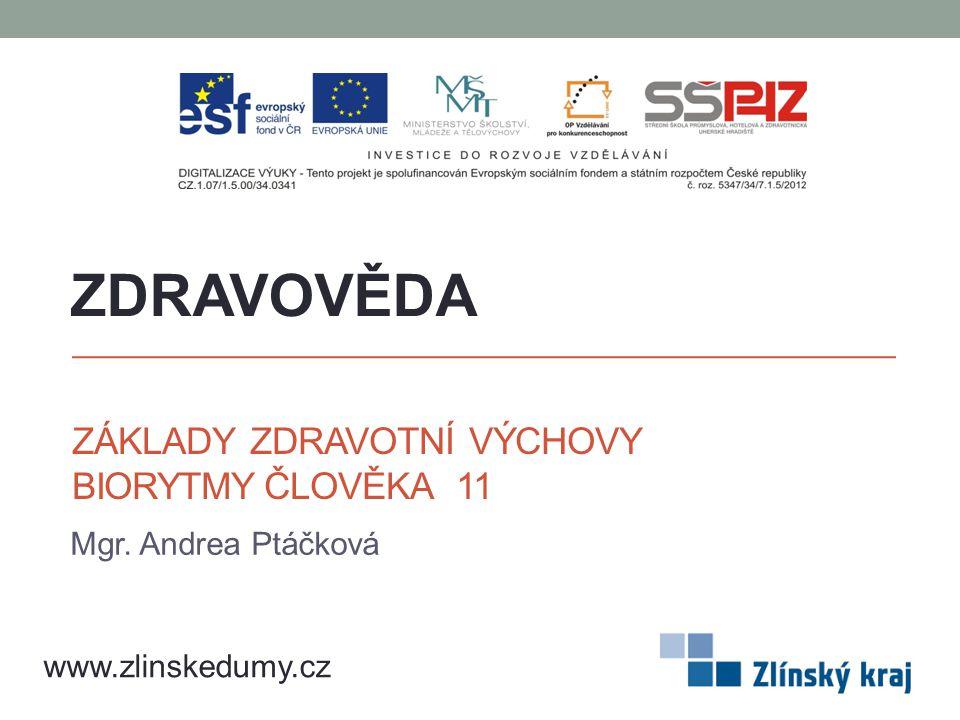 ZÁKLADY ZDRAVOTNÍ VÝCHOVY BIORYTMY ČLOVĚKA 11 Mgr. Andrea Ptáčková ZDRAVOVĚDA www.zlinskedumy.cz