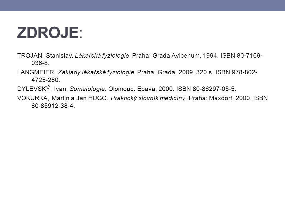 ZDROJE: TROJAN, Stanislav. Lékařská fyziologie. Praha: Grada Avicenum, 1994. ISBN 80-7169- 036-8. LANGMEIER. Základy lékařské fyziologie. Praha: Grada