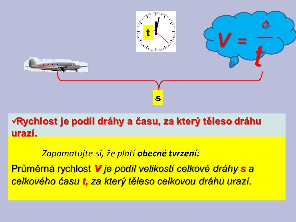 Rychlost je podíl dráhy a času, za který těleso dráhu urazí. Rychlost je podíl dráhy a času, za který těleso dráhu urazí. Zapamatujte si, že platí obe