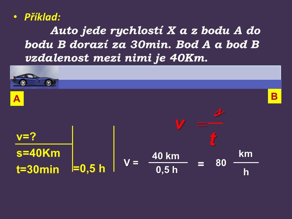 Příklad: Auto jede rychlostí X a z bodu A do bodu B dorazí za 30min. Bod A a bod B vzdalenost mezi nimi je 40Km. v=? s=40Km t=30min 40 km 40 km 0,5 h